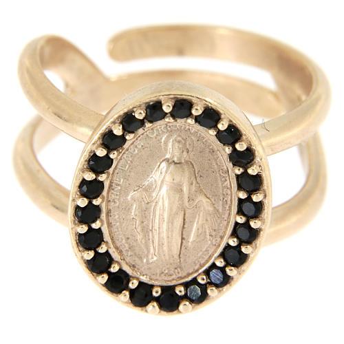 Bague réglable argent 925 rosé Médaille Miraculeuse zircons noirs 2