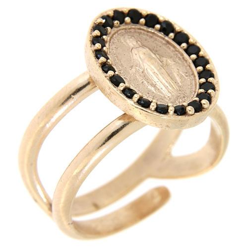 Anello regolabile arg 925 rosato Medaglia Miracolosa zirconi neri 1