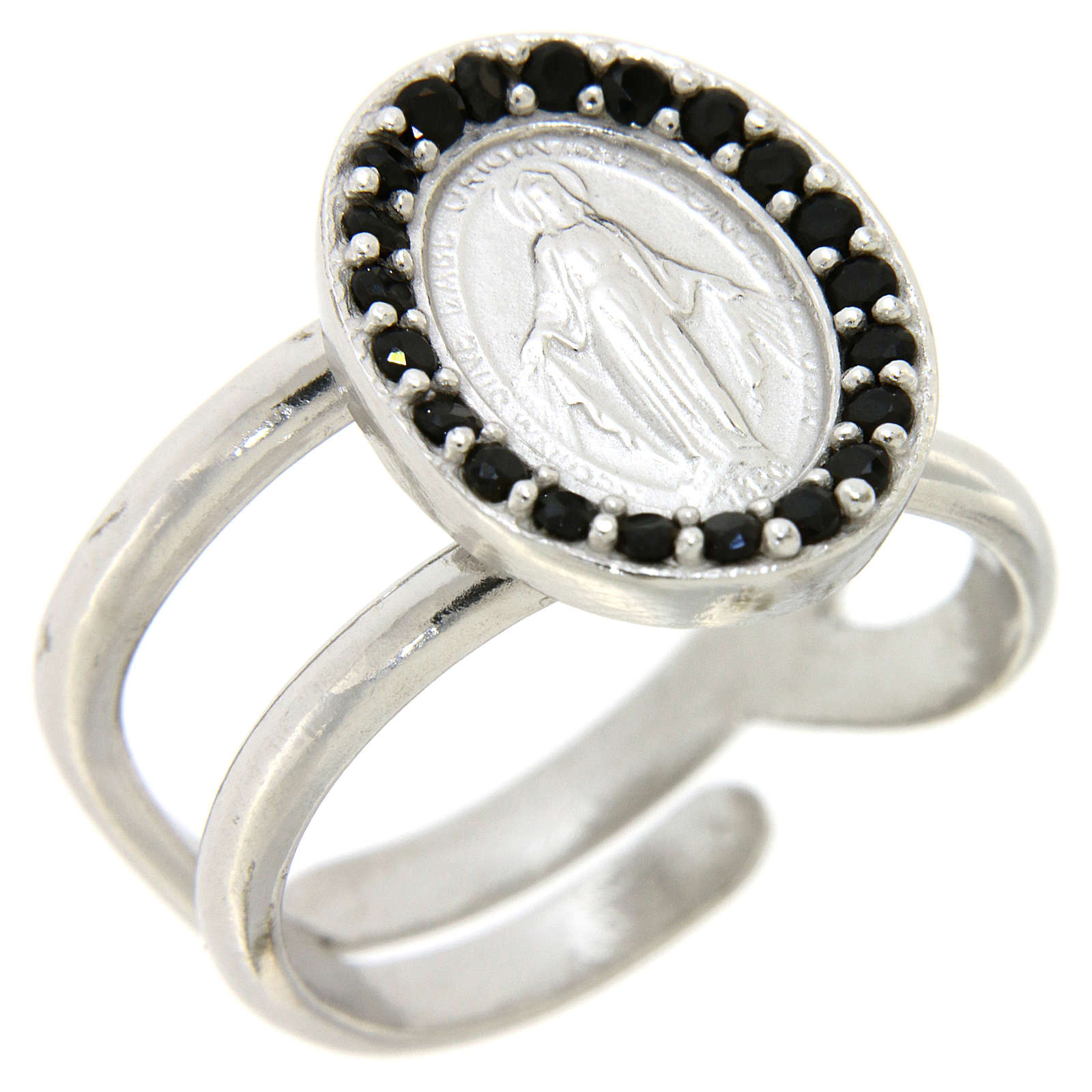 Ring in 925 silver with black zircons Miraculous Medal 3