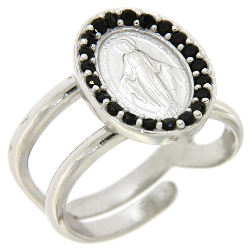 Ring in 925 silver with black zircons Miraculous Medal 1