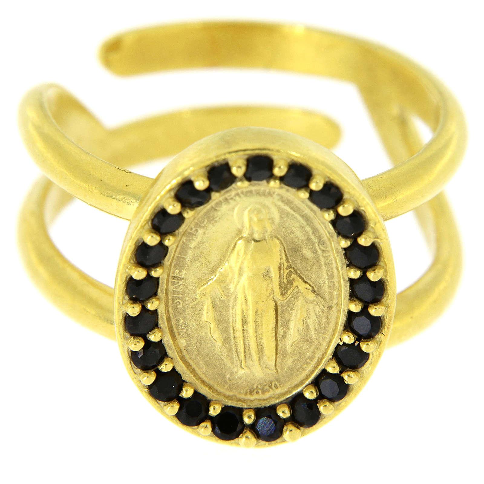 Bague argent 925 doré réglable Médaille Miraculeuse zircons noirs 3
