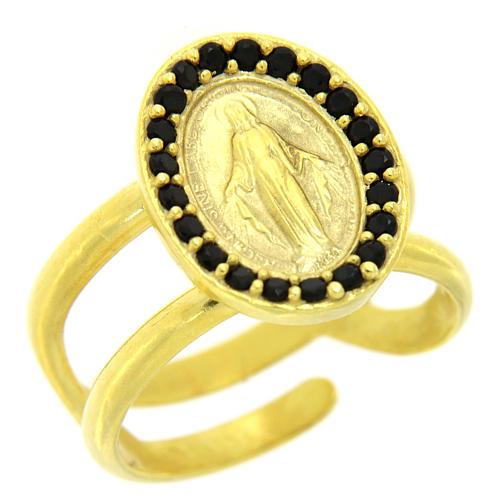 Bague argent 925 doré réglable Médaille Miraculeuse zircons noirs 1