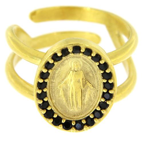 Bague argent 925 doré réglable Médaille Miraculeuse zircons noirs 2