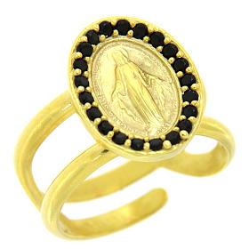 Anello argento 925 dorato regolabile Medaglia Miracolosa s1