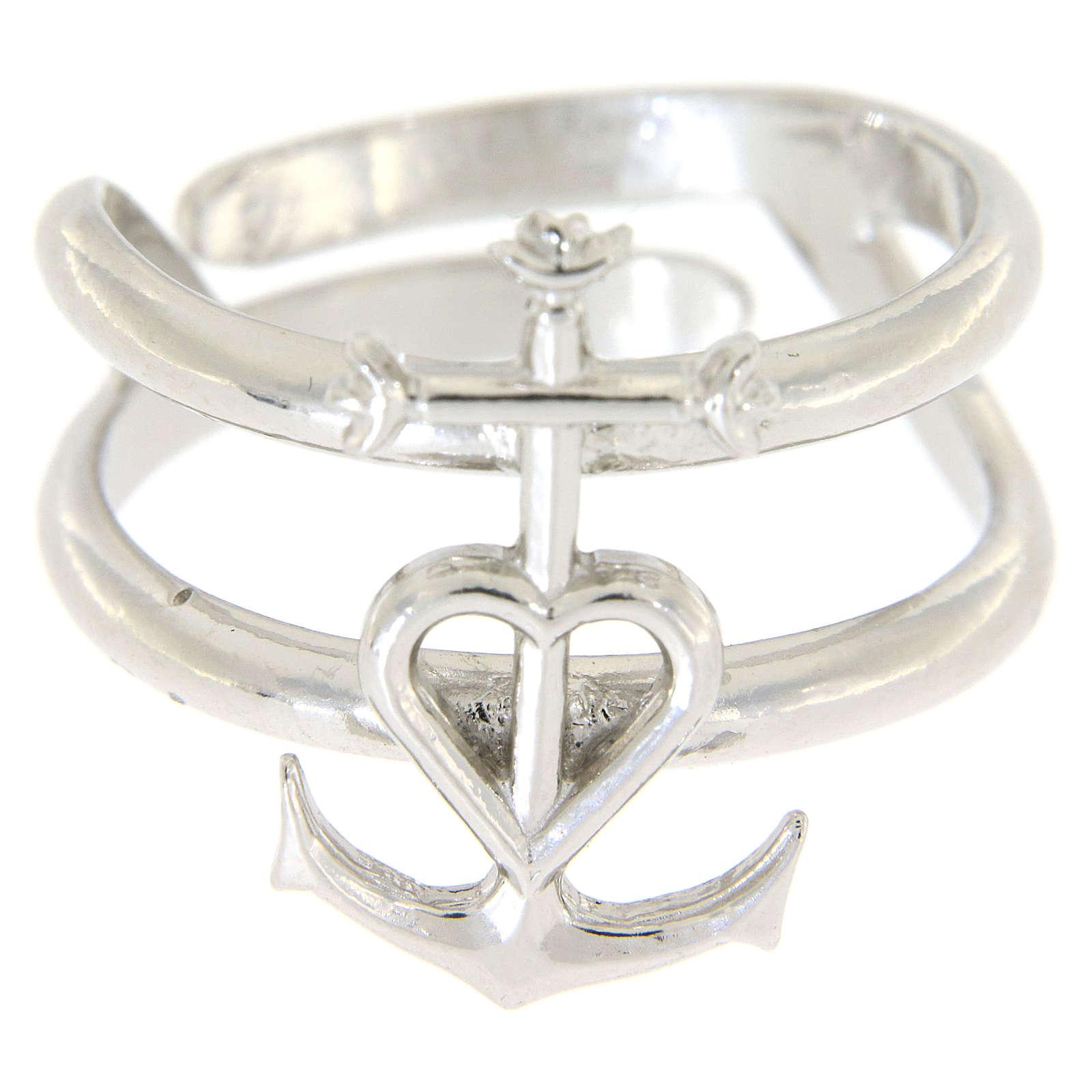Anello regolabile in argento 925 Fede Speranza e Carità 3