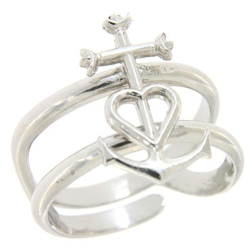 Anello regolabile in argento 925 Fede Speranza e Carità 1