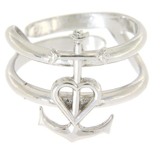 Pierścionek regulowany ze srebra 925 Wiara Nadzieja Miłość 2
