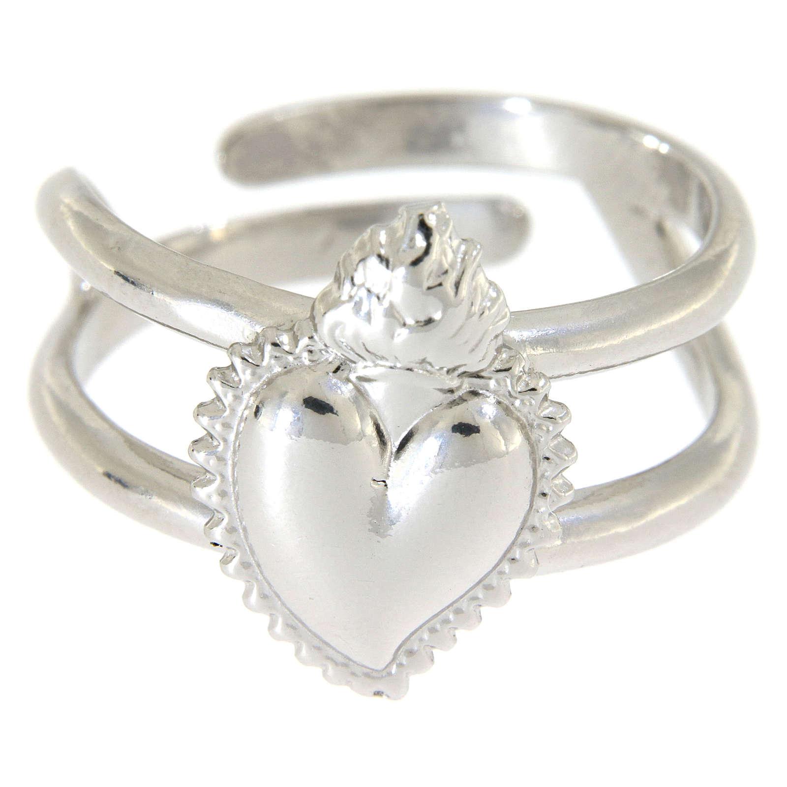 Anello regolabile in argento 925 con cuore votivo pieno 3