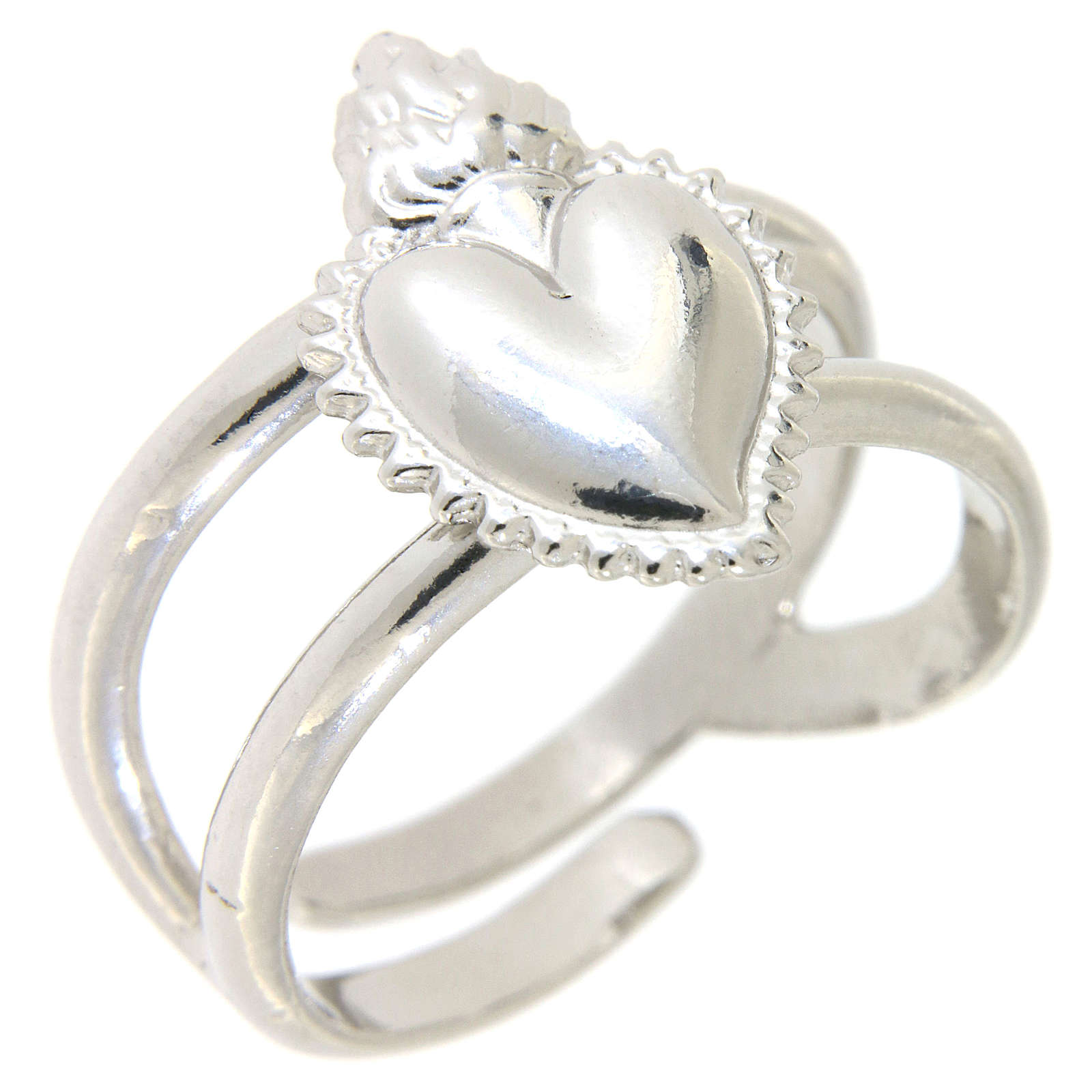 Anel regulável em prata 925 com coração ex-voto cheio 3