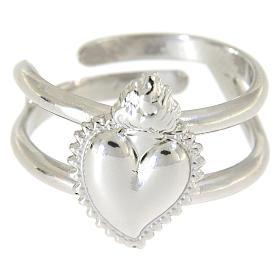 Anel regulável em prata 925 com coração ex-voto cheio s2
