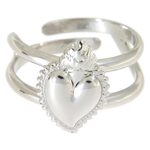 Anel regulável em prata 925 com coração ex-voto cheio 2