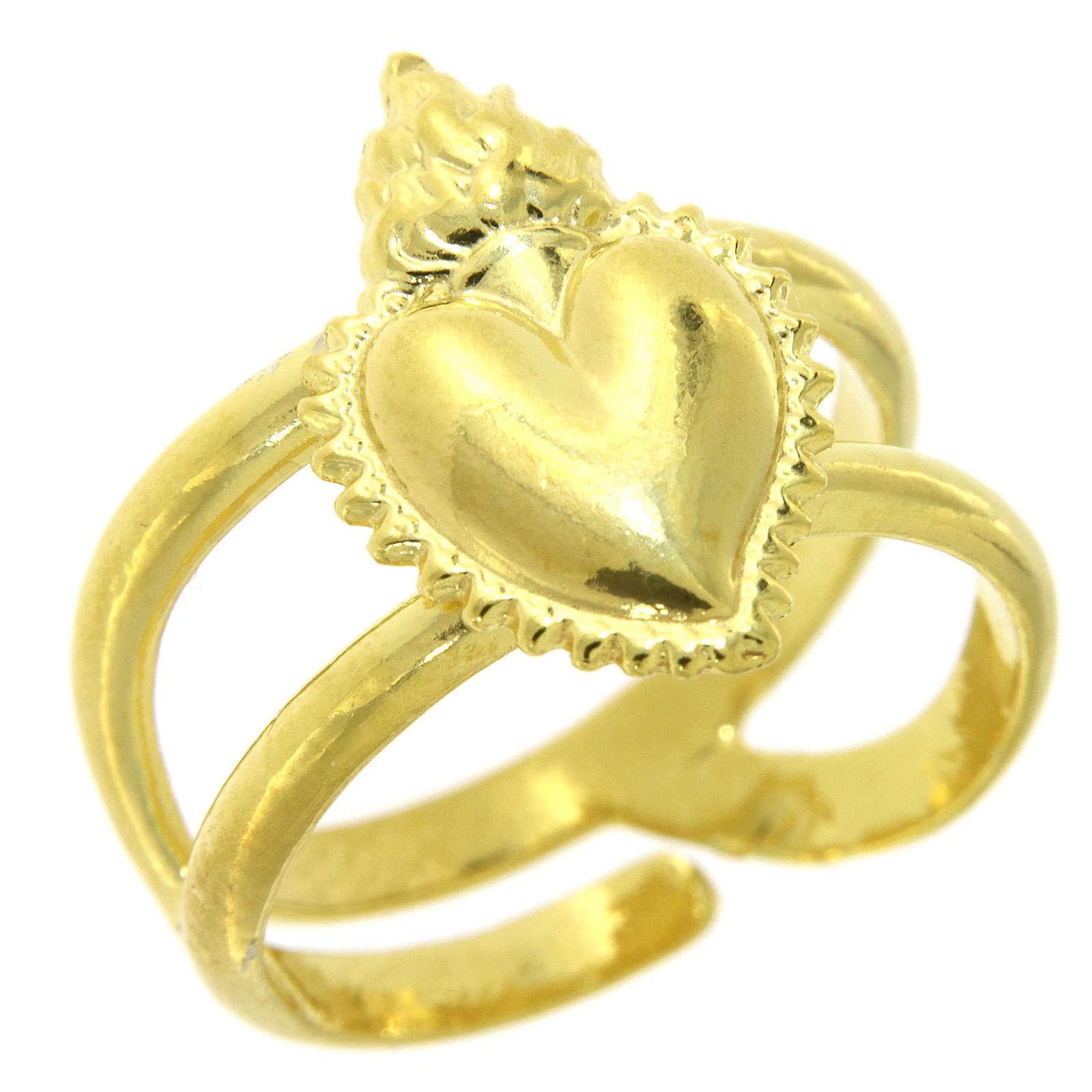 Anello dorato in argento 925 con cuore votivo pieno regolabile 3