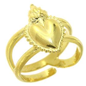 Anello dorato in argento 925 con cuore votivo pieno regolabile s1
