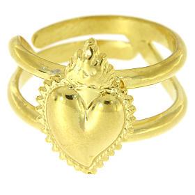 Anello dorato in argento 925 con cuore votivo pieno regolabile s2