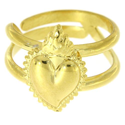 Anello dorato in argento 925 con cuore votivo pieno regolabile 2