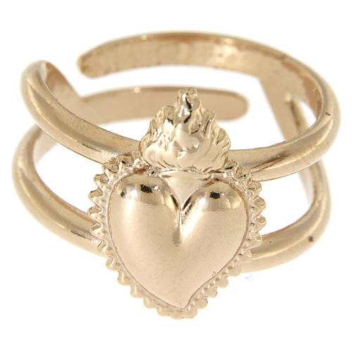 Ring in sterling silver Votive Heart, golden, rose-coloured 2