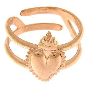 Anello rosato in argento 925 con cuore votivo pieno regolabile s2