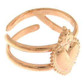 Anello rosato in argento 925 con cuore votivo pieno regolabile s3