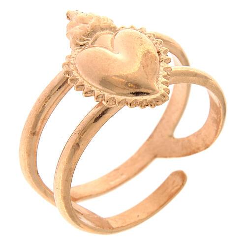 Anello rosato in argento 925 con cuore votivo pieno regolabile 1