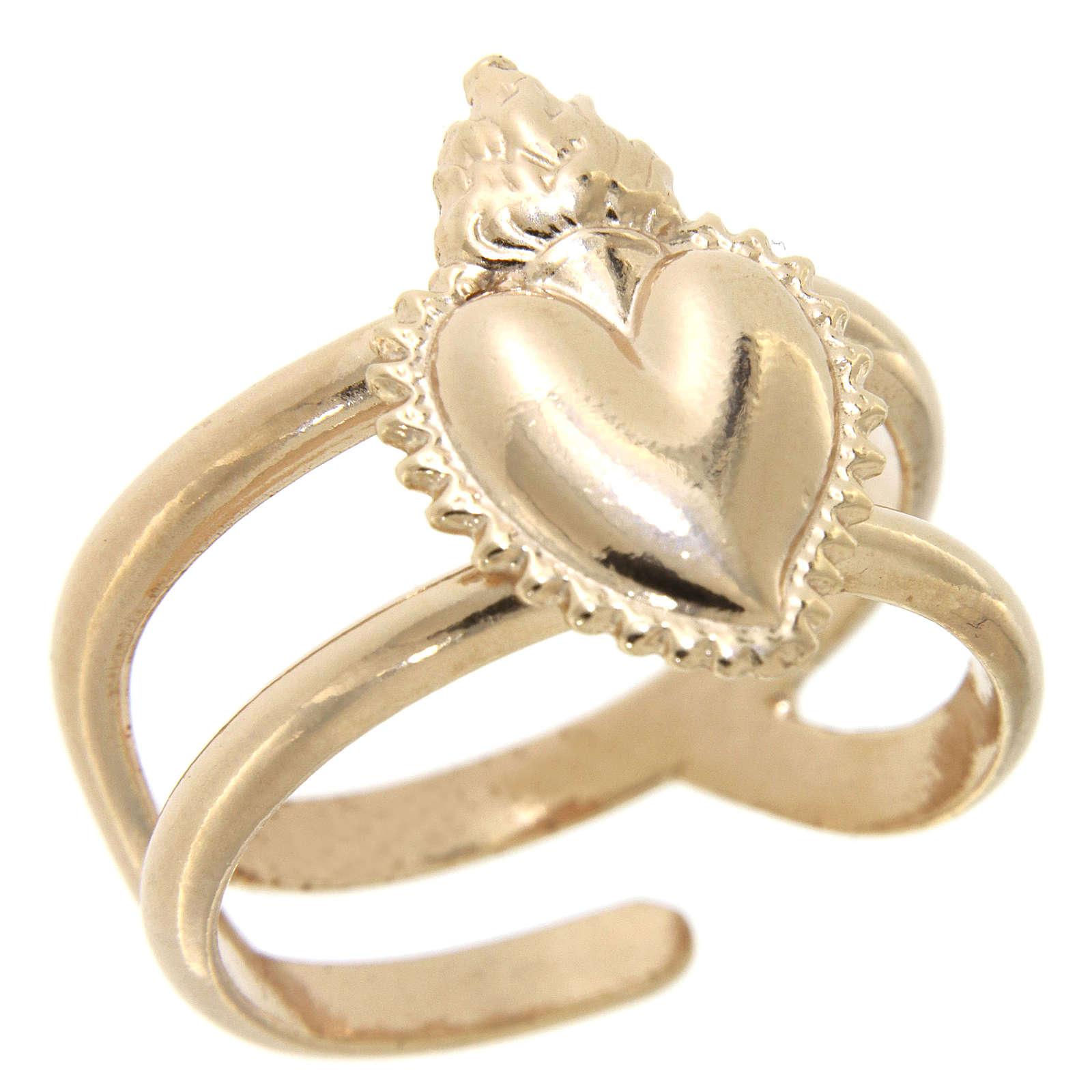 Anel rosê em prata 925 com coração ex-voto cheio regulável 3