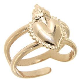 Anel rosê em prata 925 com coração ex-voto cheio regulável s1
