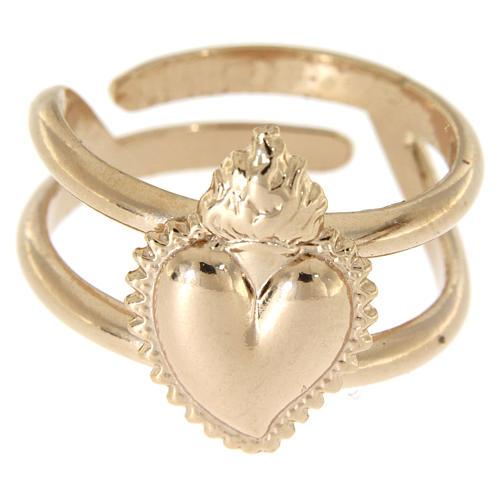 Anel rosê em prata 925 com coração ex-voto cheio regulável 2