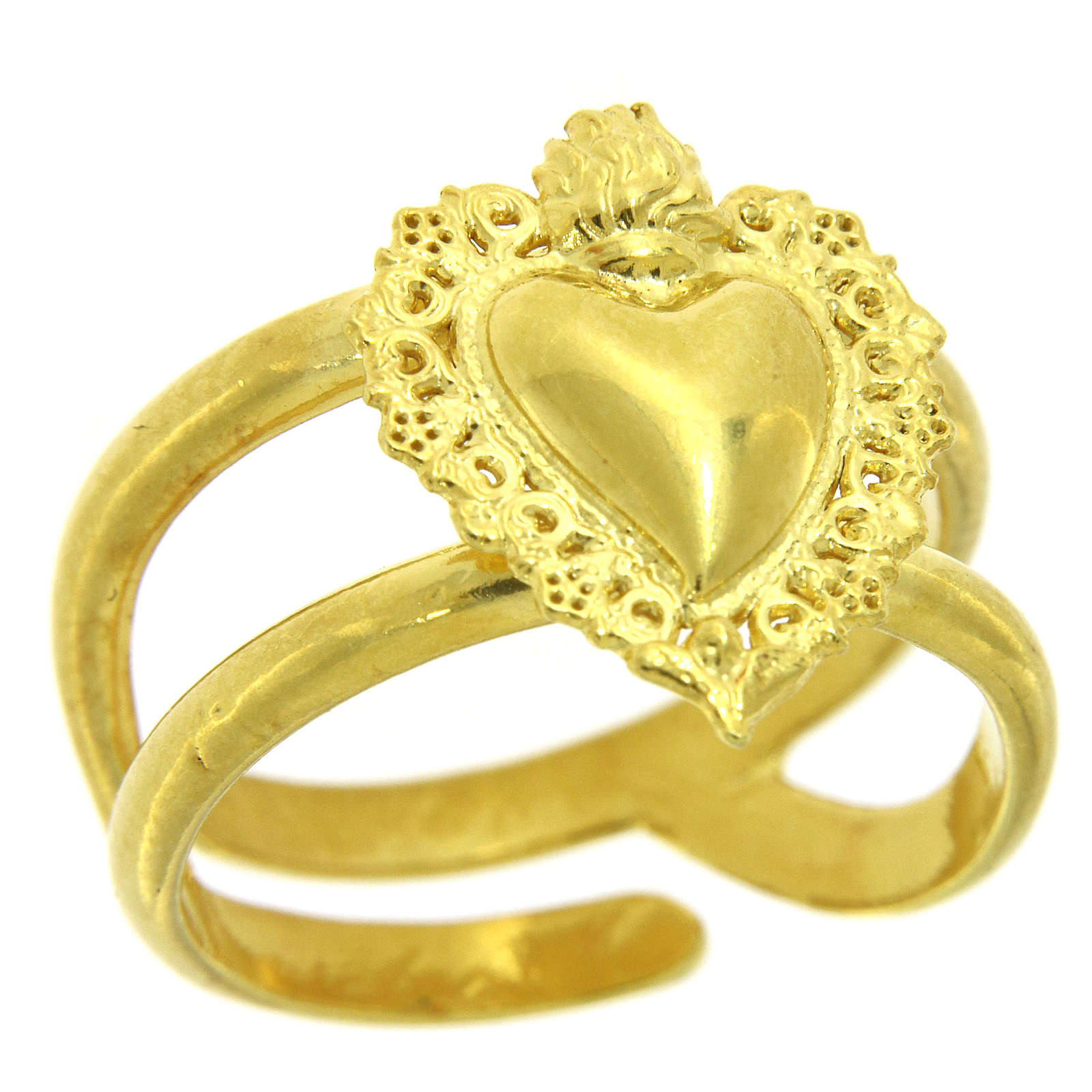 Anillo ajustable dorado con corazón votivo vacío de plata 925 3