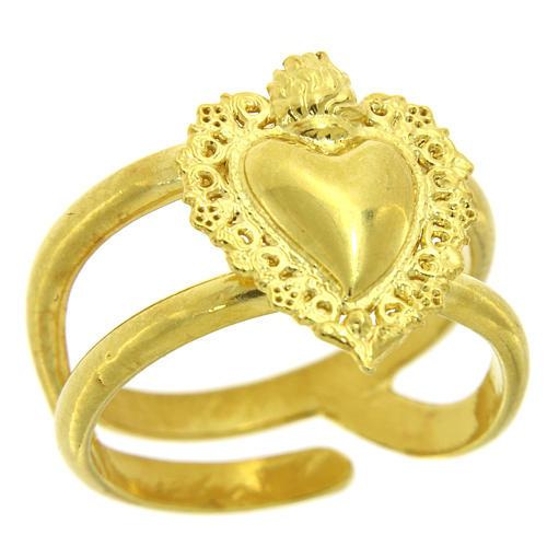 Anillo ajustable dorado con corazón votivo vacío de plata 925 1