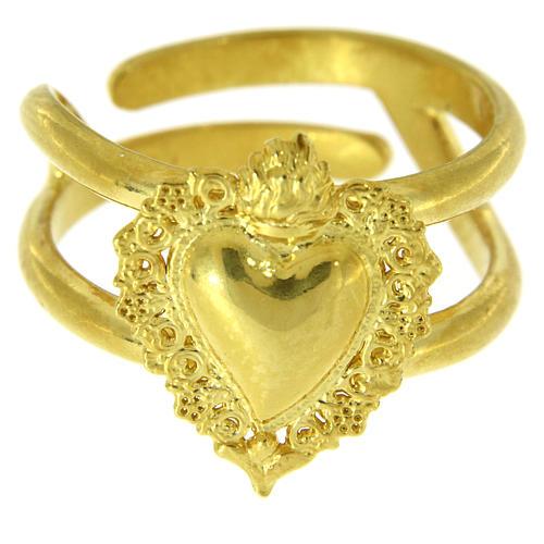 Anillo ajustable dorado con corazón votivo vacío de plata 925 2