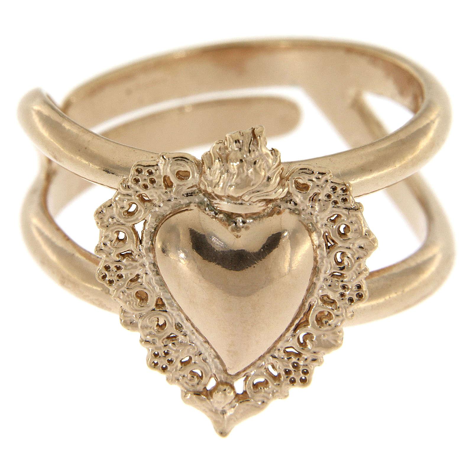 Anillo ajustable rosado con corazón votivo vacío de plata 925 3