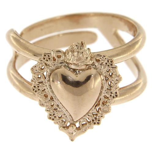 Anillo ajustable rosado con corazón votivo vacío de plata 925 2