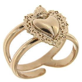Anello regolabile rosato con cuore votivo vuoto in argento 925 s1