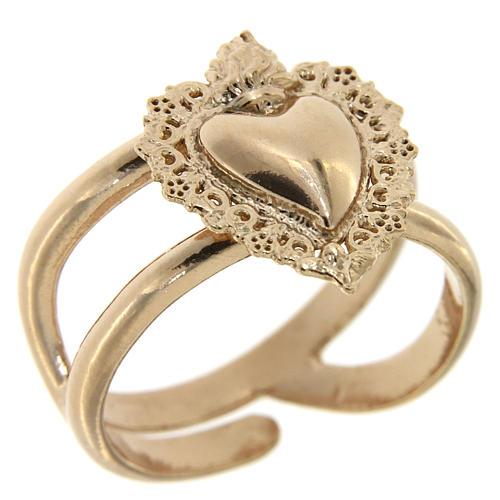 Anel regulável rosê com coração ex-voto vazio em prata 925 1