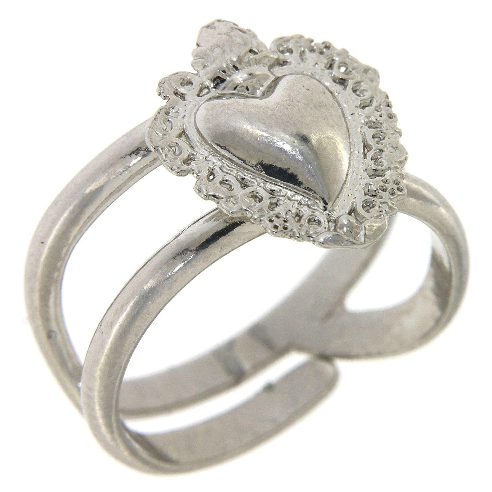 Anello regolabile in argento 925 con cuore ex voto vuoto 3