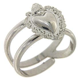Anello regolabile in argento 925 con cuore ex voto vuoto s1