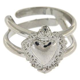Anello regolabile in argento 925 con cuore ex voto vuoto s2