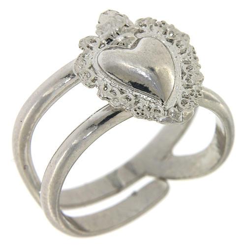 Anello regolabile in argento 925 con cuore ex voto vuoto 1