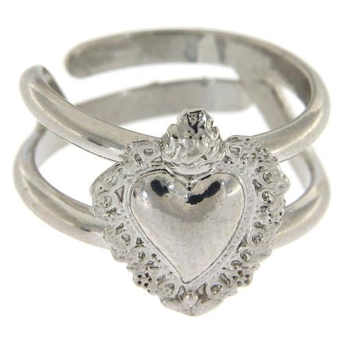 Anello regolabile in argento 925 con cuore ex voto vuoto 2