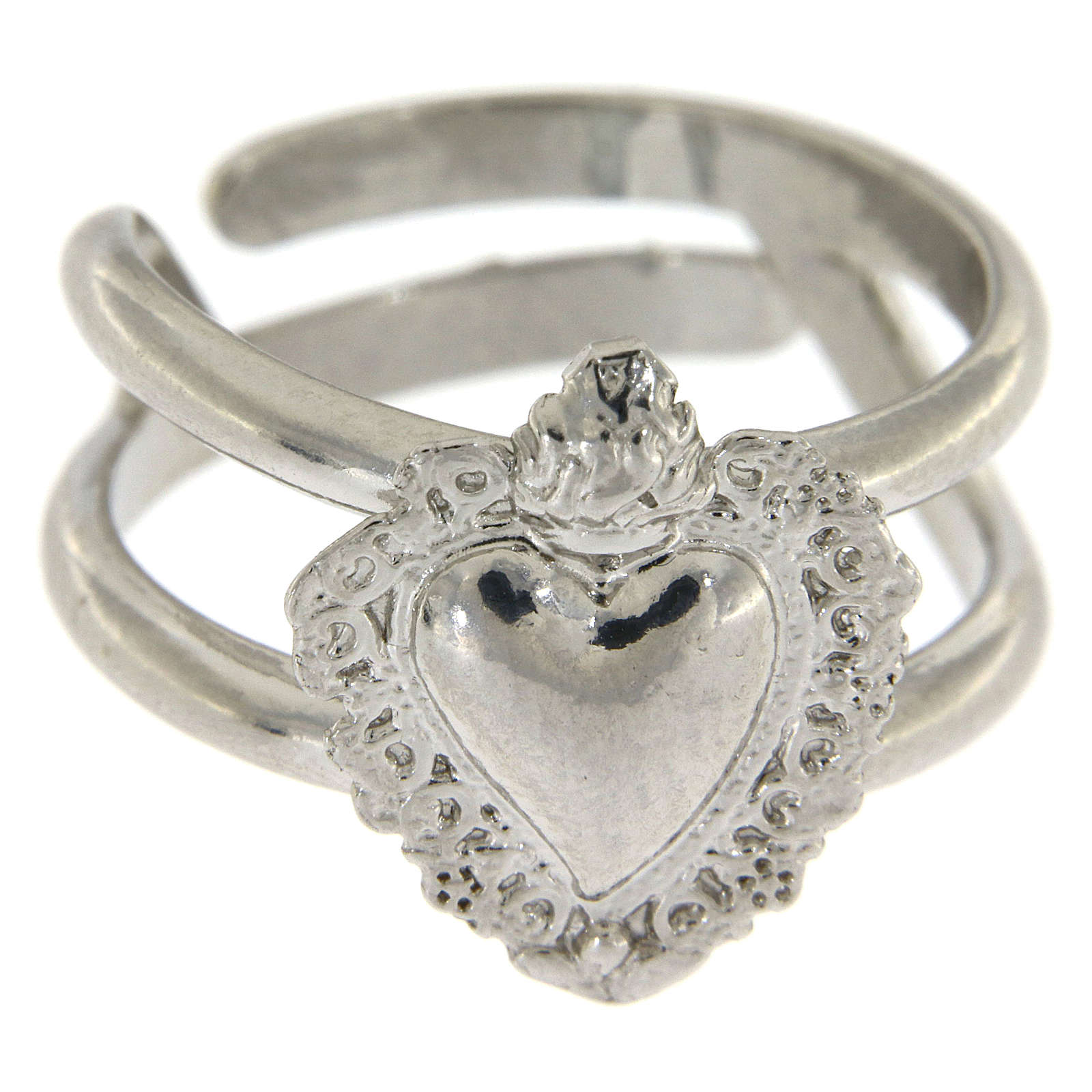 Anel regulável em prata 925 com coração ex-voto vazio 3