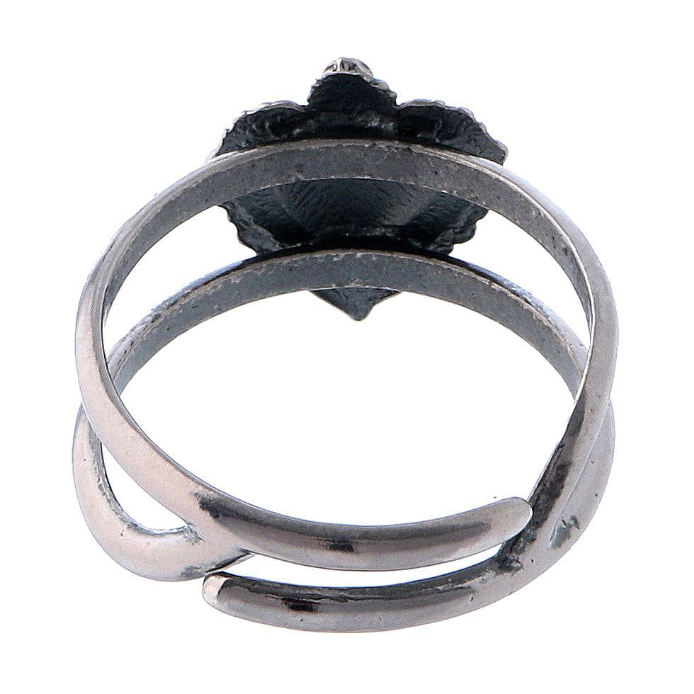 Anello regolabile in argento 925 con cuore votivo vuoto 3