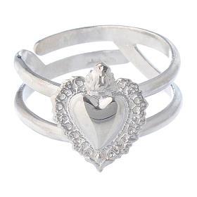 Anello regolabile in argento 925 con cuore votivo vuoto s2