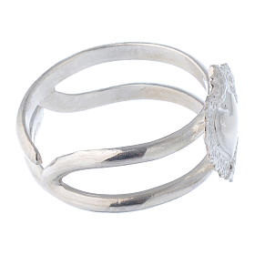 Anello regolabile in argento 925 con cuore votivo vuoto s3