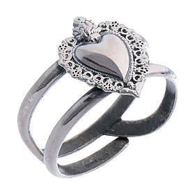Anello regolabile in argento 925 con cuore votivo vuoto s1