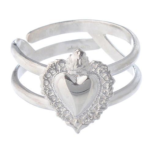 Anello regolabile in argento 925 con cuore votivo vuoto 2