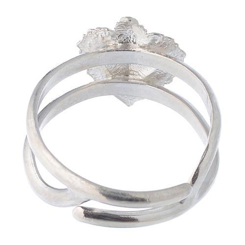 Anello regolabile in argento 925 con cuore votivo vuoto 5