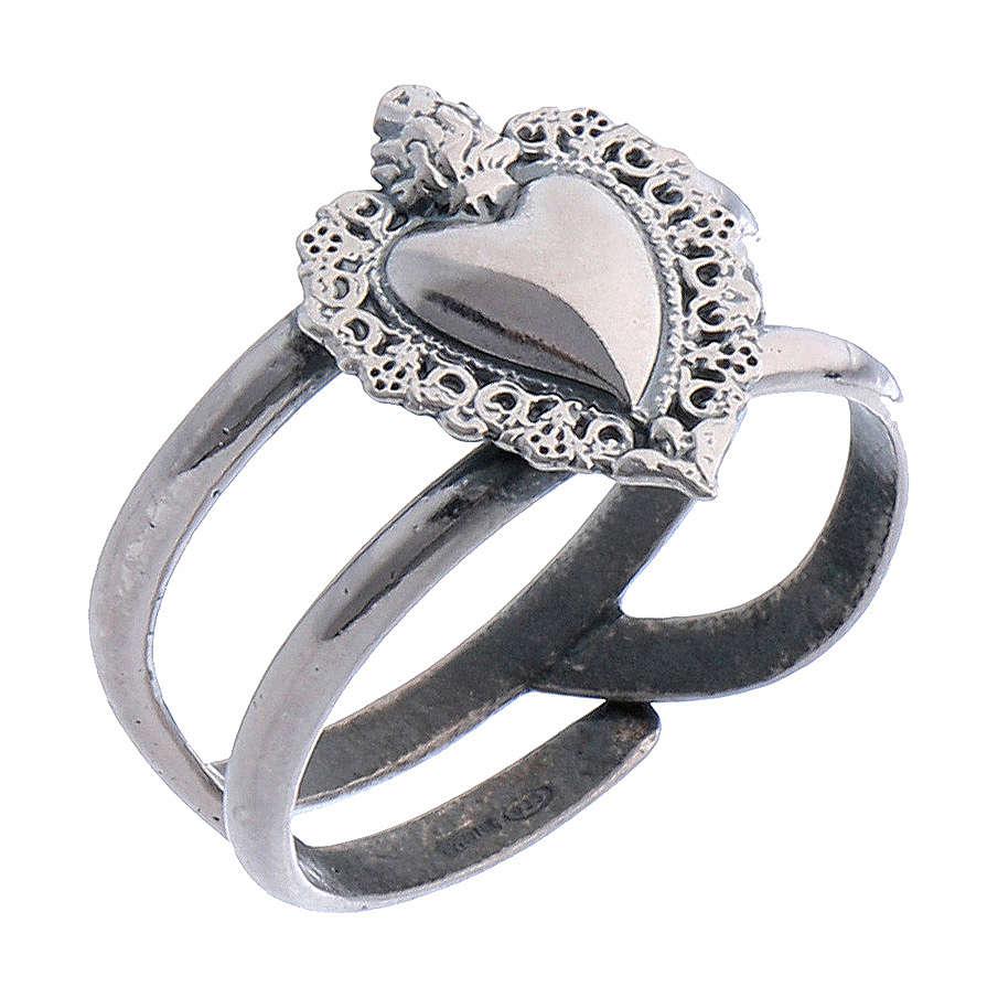 Anel regulável em prata 925 antiquada com coração ex-voto vazio 3