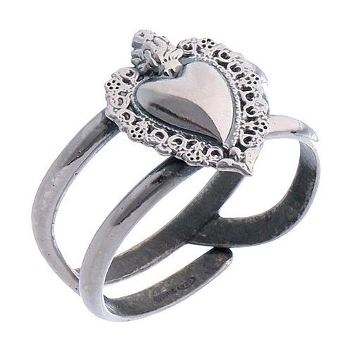 Anel regulável em prata 925 antiquada com coração ex-voto vazio 1
