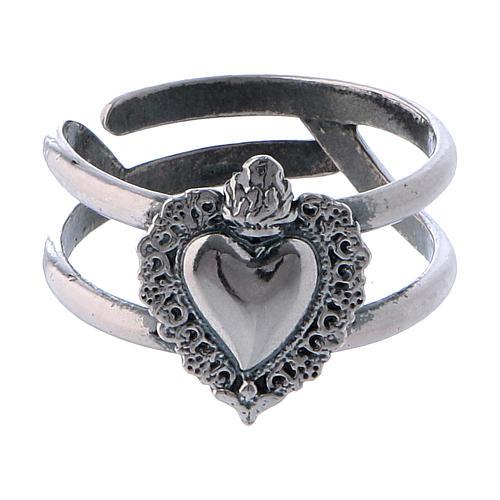 Anel regulável em prata 925 antiquada com coração ex-voto vazio 2