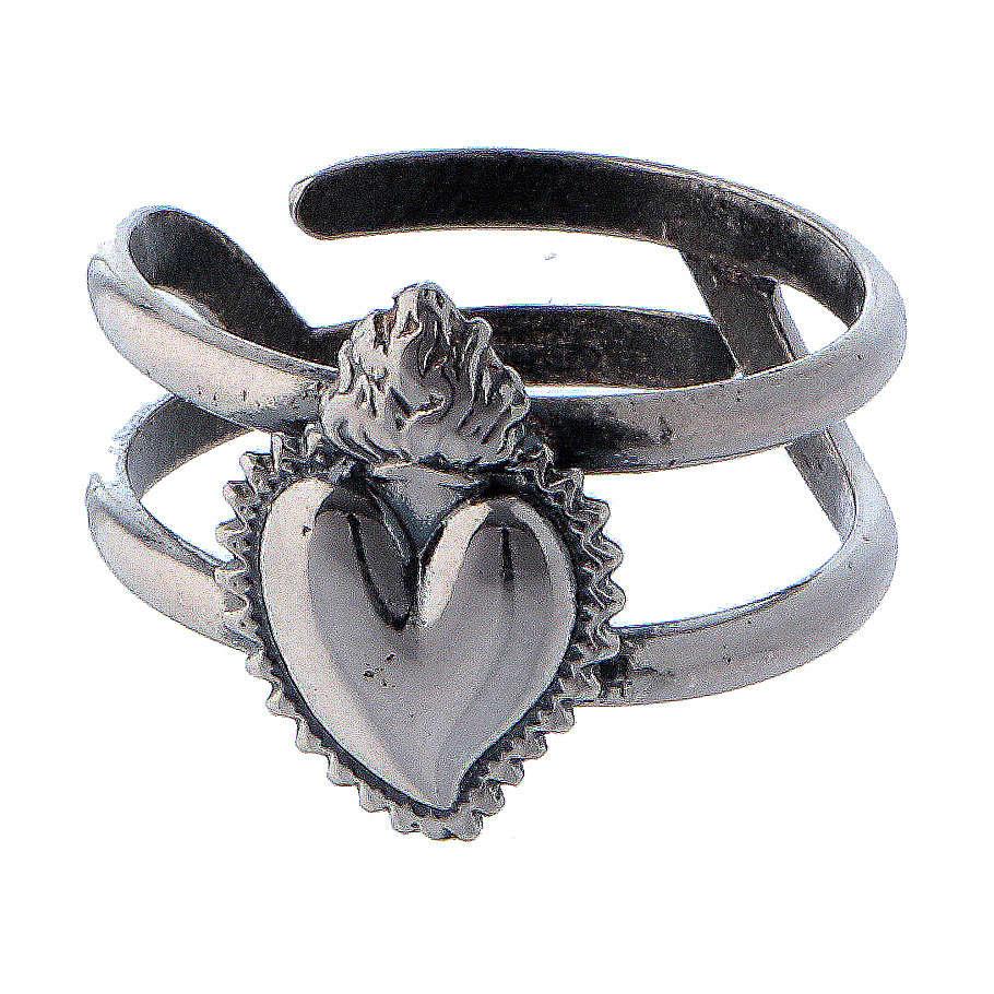 Anillo ajustable corazón votivo vacío de plata 925 3
