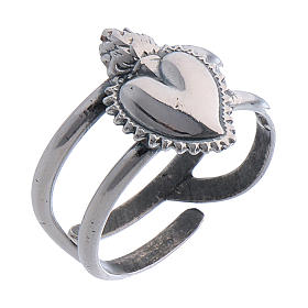 Anillo ajustable corazón votivo vacío de plata 925 s1